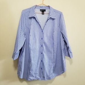 Lane Bryant striped v neck button up blouse